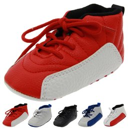 Wholesale Baby Shoe Leather Red - Soft bottom high help baby 0 and 1 year old baby toddler shoes sneakers