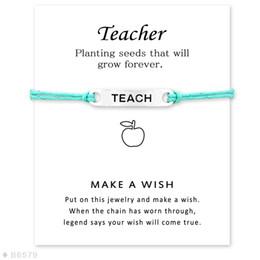 Wholesale Leather Friendship Bracelets For Women - (10 pcs lot) Silver Tone Teach Charm Bracelets & Bangles for Women Girls Adjustable Friendship Statement Jewelry with Card