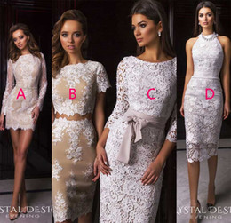 Wholesale Styles For Formal Maternity - short lace evening dresses 2017 crystal desing 4 style full lace sheath formal evening gowns for bride party dresses