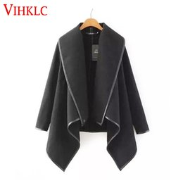 Wholesale Trench Abrigos Mujer - Wholesale- Woman Coat 2016 Autumn Winter Women Long Cashmere Overcoats Woman Trench Wool Coats Fur Manteau Abrigos Mujer Plus Size L457