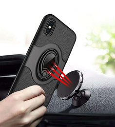 Wholesale Cars Metal Cover - 360 Degree Rotation Ring Holder kickstand Magnetic Car Mount leather skin cover Case For iphone X 8 7 6 6s Plus Samsung S8 Plus Note 8