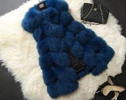 Wholesale Brown Fox Fur Collar - New Arrival Winter Warm Fashion Women Import Coat Fur Vest High-Grade Faux Fur Coat Fox Fur Long Vest Plus Size: S-6XL