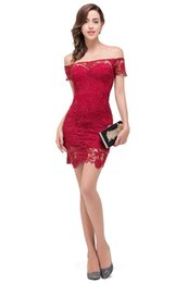 Wholesale Evening Dress Babyonline - Babyonline Sexy Burgundy Lace Cocktail Dresses 2017 Off Shoulder Hollow Out Evening Party Dress Mini Dress vestidos festa curto