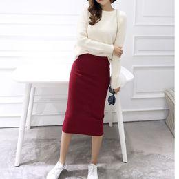 Wholesale Stretch Long Skirt - 2017 spring Autumn And Winter package hip skirt slit skirts women step skirt stretch Slim thin female waist skirts Long skirts