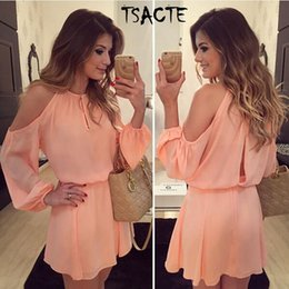 Wholesale Club Offers - Wholesale- New Style Summer Pink Dress Sexy Off Shoulder Long Sleeve Tunic Women Chiffon Dress Casual Vestido Round halter Special offer