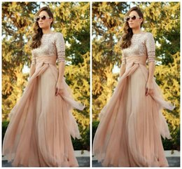 Wholesale Bridesmaid Dresses Cheap Blush - 2016 Sparkly Cheap Blush Chiffon Bridesmaid Dresses Sexy Crew Long Sleeve Sequins Ruffles Floor Length Maid of Honor Dress Custom Made