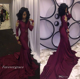 Wholesale Long Sleeve Black Dresses Mermaid - 2017 Fashion Women Wine Red Prom Dress Sexy South African Gold Appliques Burgundy Long Formal Evening Party Gown Custom Made Plus Size
