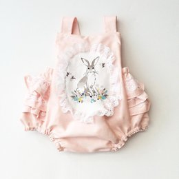 Wholesale Wholesale Lace Rompers - INS new arrivals summer baby girl kids climbing romper sleeveless rabbit print lace romper girl kid summer rompers 0-2T