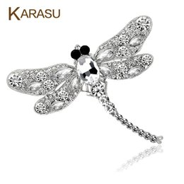 Wholesale Vintage Dragonfly Brooch Rhinestones - Wholesale- Vintage Design Shiny 6 Colors Rhinestone Dragonfly Brooch For Women Dress Scarf Broocher Pins Jewelry Accessories Gifts