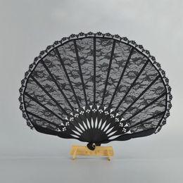 Wholesale Vintage Wedding Hand Fans - Spanish Victorian Vintage Hand Fan for Wedding Party Favor Fancy Dress Black Japanese Folding Pocket Fan Dancing Props ZA3102