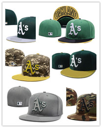 Wholesale Cheap Sports Fitted Hats - Cheap Wholesale retail-Top Quality Mens' Baseball Fitted Hats Women's Sport Oakland Athletics full Closed on field caps A'S logo embroidery