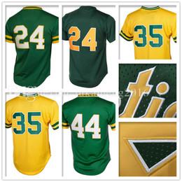 Wholesale Henderson Baseball - Men's 24 Rickey Henderson 35 Rickey Henderson Baseball Jersey Adult 44 Reggie Jackson Retro Jerseys Embroidery