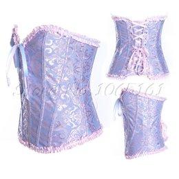 Wholesale Lingerie Lace Light Blue - Wholesale-Lacework Lingerie Overbust Corset Bustier Lace Up Body Shaper Blue