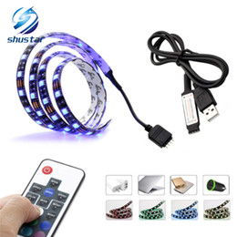 Wholesale 12v Rgb Led Lights - TV PC Background LED Strip Lighting DC5V USB SMD5050 RGB 60LEDs m with 17Key RF Controller 50cm   1m   2m Set