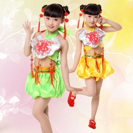 Wholesale Chinese Dancing Costumes - 2pcs Hot Children's National Performance Costume Dudou Chinese Knot Apparel Children's Clothing Dance Clothing Free Shopping