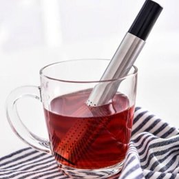 Wholesale Coffee Mesh - Tea Strainer Stick Stainless Steel Pipe Design Mesh Tea Filter Portable Tea Infuser Coffee Teapot Drinkware Tools CCA6875 100pcs