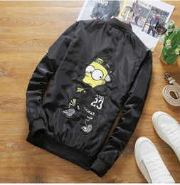 Wholesale Shirt Epaulets - 2017 spring the new European and American tide brand cartoon embroidery baseball shirt trend of large size jacket men jacket