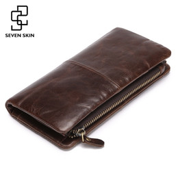 Wholesale First Slot - Wholesale- 2017 New First Layer of Real Leather Wallet Men's Oil Wax Retro Zipper Wallet Multi-Card Bit Long Wallet Clutch Genuine Carteira