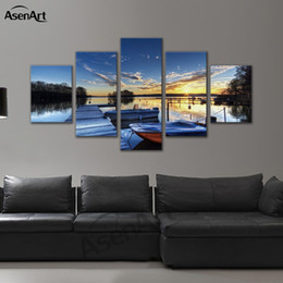 Wholesale 12x18 Wood Picture Frame - 5 Panel Printed Canvas Painting for Living Room Seascape Art Prints Wood Bridge Landscapes Picture Frame Wall Art Ready to Hang Dropshipping