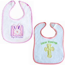 Wholesale White Infant Bibs - Baby cotton terry cloth bibs Infants Easter embroidery bibs Easter Blessings My 1st Easter for boys girls