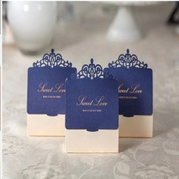 Wholesale Gift Box Wedding Invitations - Navy Blue and Ivory Laser Cut invitations Sweet Love Wedding Candy Box Elegant Rhinestone Wed Favor Box Small Gift Box