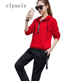 Wholesale Sports Hoodie Set Piece - RLYAEIZ Plus Size 4XL Casual 2 Piece Set Women 2017 Spring Fashion Hooded Hoodies + Pants Autumn Tracksuits Woman Sporting Suits