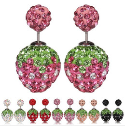 Wholesale Unique Stainless Designs - Unique Design! Cute Strawberry Studs Earrings Mixed Color Shambhala Beads Rhinestone Earrings Women Fashion Jewelry Girls Cute Studs 7 Color
