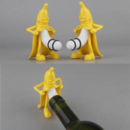 Wholesale Wholesale Plastic Bottle Stoppers - 2017 Funny Banana Shaped Man Little Man Opener Wine Stopper Novelty Bar Tools Wine Cork Bottle Plug Perky Interesting Gifts