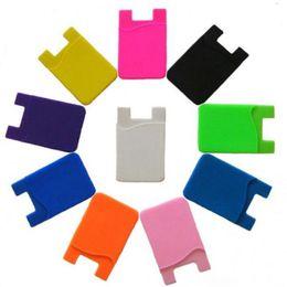 supporto moneta in silicone Sconti Portamonete bambini ultra-sottile carta adesiva portafoglio carta di credito Set supporto di carta per smartphone per iPhone 7 silicone colorato HH-C56