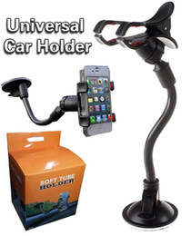Wholesale Car Windshield Stand Phone - Soft Tube Universal Car Holder 360 Rotating Car Windshield Cell Phone Mounts Bracket Stands Holder for iPhone 6 7 Samsung S5 S6 S7