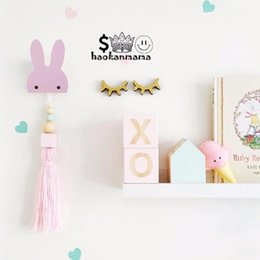 Wholesale Decorative Wooden Animals - 2017 Cartoon Animal Rabbits Decoration Children Kids Bedroom Decorative Wall Sticker Fashion Wooden Wall Hanging Hooks
