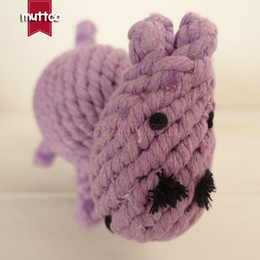 Wholesale Dog Bite Toy - wholesale hippo dog pet toy play bite toy cotton rope dog toy DRT-003