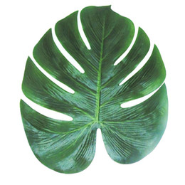 Wholesale Hawaiian Wedding Decorations - Wholesale- 12pcs Artificial Leaf 35x29cm Tropical Palm Leaves Simulation Leaf for Hawaiian Luau Theme Party Decorations Home garden decor