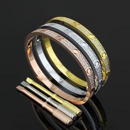 Wholesale Stainless Steel Jewelry Cz Bracelets - wholesale High quality Fashion full AAA CZ diamond screw bracelet thin narrow bangle with screwdriver designer steel party jewelry for women