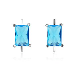 Wholesale Mosaic Designs Free - Manual Mosaic Earrings Stud Simple Design Blue Zircon Solid 925 Sterling Silver Fashion Women Jewelry 0.8g EMS DHL Free Shipping