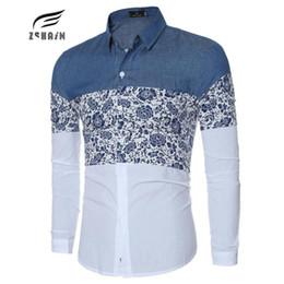 Wholesale Mens Poplin Shirts - Wholesale- 2017 Brand Denim Shirts Men Dress Shirts Long Sleeve Fashion Slim Camisa Jeans Masculina Mens Denim Shirts