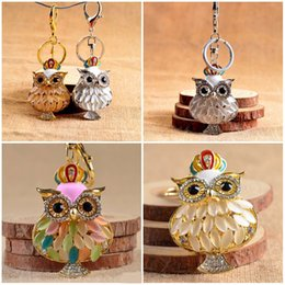Wholesale Owl Solar Lights - Kimter 3 Styles Cute OWl Charm Blingbling Keychain Crystal Rhinestone Pendant Keyring Owl Design Key chain Promotion Gifts C10L