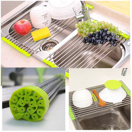 Wholesale kitchen dish drainer - New Foldable Kitchen Sink Rack Stainless Steel Dish Cutlery Drainer Drying Holder Useful Kitchen Tools