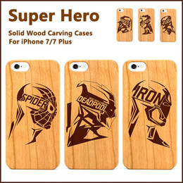 Wholesale Iron Man Cases - Super Hero Case For iPhone 7 Plus 6 6s Cherry Wooden Carved Wood Cover SPIDERMAN IRON MAN Samsung Galaxy S8 Plus S7 Edge