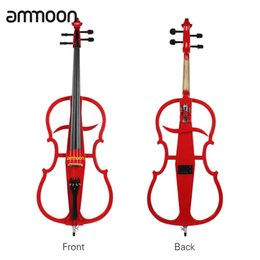 Wholesale Solid Wood Acoustic Electric - Wholesale- ammoon 4 4 Violoncello Solid Wood Electric Cello Ebony Fittings in Style 1 with High Quality Tuner Headphone Gig Bag