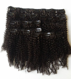 Wholesale 4mm 22 - Mongolian Afro Kinky Curly Clip In Human Hair Extensions For Black Women 4mm Natural Black 120g G-EASY