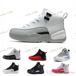 Wholesale boy master - Cheap Children Athletic RETRO Boys And Girls OVO French Blue Playoffs flu game The Master Taxi Sports 12 XII Sneakers Kids Basketball Shoes
