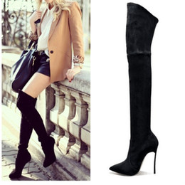 Wholesale Thigh High Slim Boots - Wholesale-2016 Autumn Winter Women Boots Stretch Faux Suede Slim Thigh High Boots Fashion Sexy Over the Knee Boots High Heels Shoes Woman