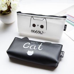 Wholesale Hot School Boys Girls - Wholesale- Hot Sales Kawaii Cartoon Cat Silica Gel Pencil Case Super Big Capacity School Stationery Pen Bag Gift for Girl Boy Student Box