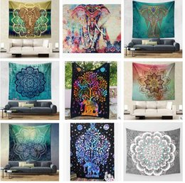 Wholesale Elephants Wall Decor - Hippy Mandala Tapestry Bohemian Elephant Tapestry Wall Hanging Psychedelic Wall Art Dorm Decor Beach Throw Indian Wall Tapestries 21 styles
