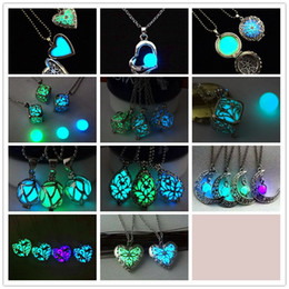 Wholesale cube link - Fashion Hollow Square Tree of life Heart luminous Bead Pendant love cube luminous Box Necklace For Women With Silver Chain Main Style