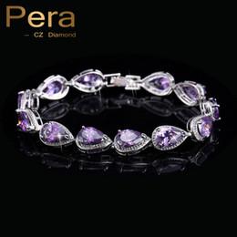 Canada Gros-2016 Nouvelle Arrivée 18k Argent Plaqué Améthyste Violet Cubique Zircone Bracelets Pour Les Femmes De Mode CZ Diamant Bijoux B002 cheap amethyst diamond bracelet Offre