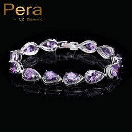 Wholesale Purple Diamond Bracelet - Wholesale-2016 New Arrival 18k Silver Plated Amethyst Purple Cubic Zirconia Bracelets For Women Fashion CZ Diamond Jewelry B002