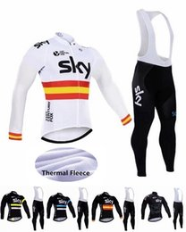 Wholesale Sky Winter Bib - sky cycling jersey bib pants winter thermal fleece cycling clothing sportswear quick dry breathable MTB set free shipping