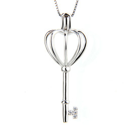 Wholesale Locket Hearts Wholesale - 925 Sterling Silver Heart Key Locket Pendant Pack of 3pcs, 34.5*13.5*13.5mm